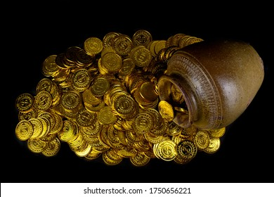 Gold coin in treasure old pot on black background