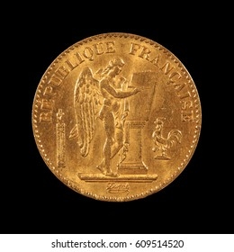gold coin     twenty franc, france