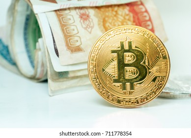 Gold coins With banknote background
