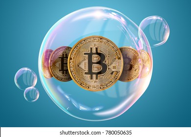 Gold Coins Bitcoin in a soap bubble. The concept of instability of the crypto currency, electronic money, the burning of the crypto currency. on a blue background