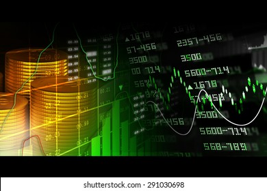Gold coins with financial stock chart