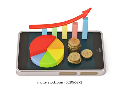 Gold coins and graph with red arrow on smartphone mobile.3D illustration.