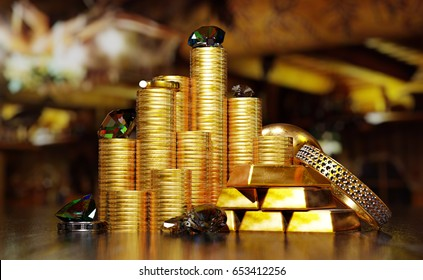 Gold coins and ingots with jewelry and diamonds. 3D illustration.