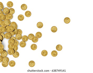 Gold Coins Isolated on white background, Top view
