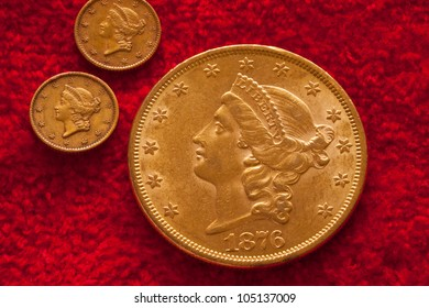 Gold Coins on Red