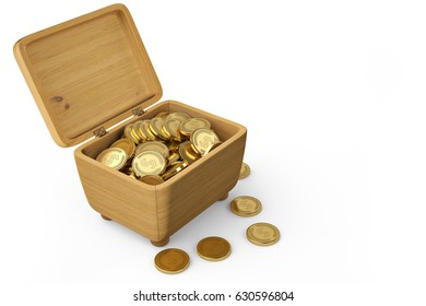 Gold coins on wood box.3D illustration.