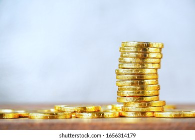 Gold coins stack , business investment concept.