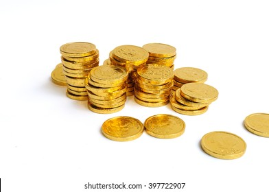 Gold coins  stack isolated on white