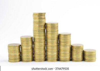 gold coins stack on white background