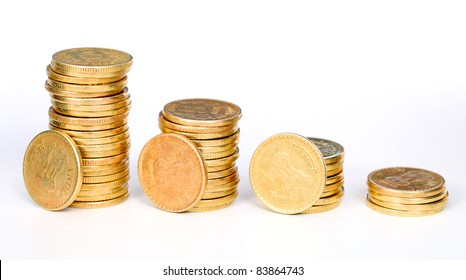 Gold coins staircase, isolated on white background