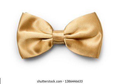 Gold color bow tie isolated on white background with clipping path