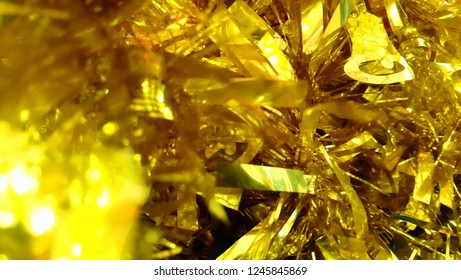 gold color tinsel cristmas​ and new year background