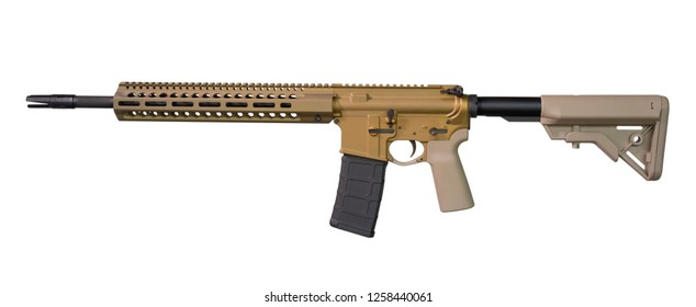 Gold colored assault rifle that is isolated on a white background