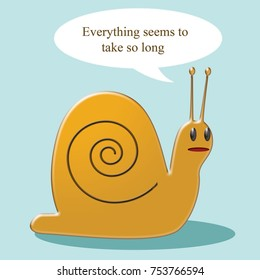 gold colored cartoon snail on blue background with caption illustration