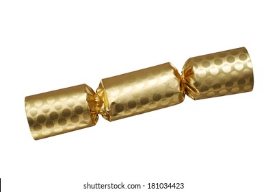 Gold colored cracker isolated on white