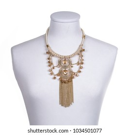 Gold colored ethnic necklace