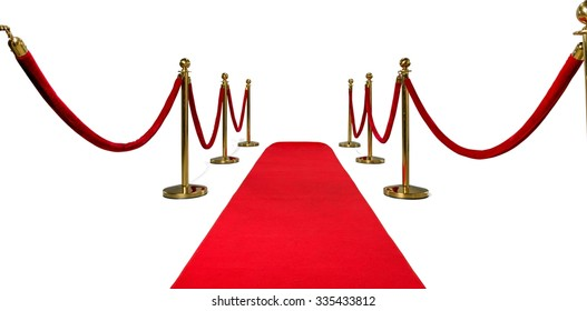 Gold colored metal stanchions with red velvet rope and red carpet for crowd control