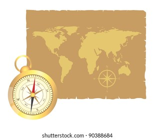 gold compass and old map over old paper illustration