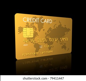 Gold credit card, 3D render isolated on black