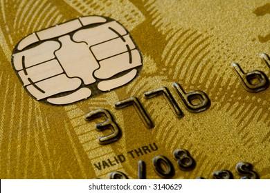 Gold credit card close-up