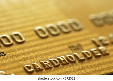 Gold Credit Card. Closeup.