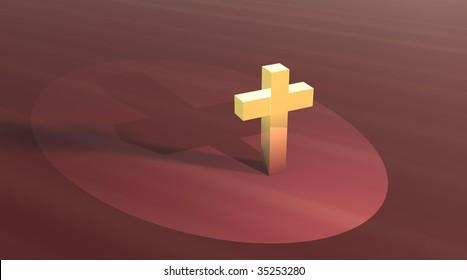 Gold cross in brown field