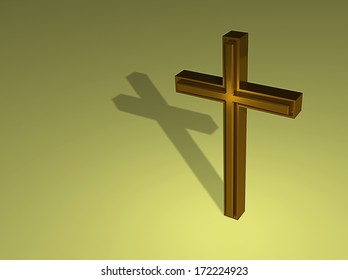 Gold cross on green  background made in 3d software
