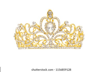 gold crown with diamonds isolated on white