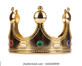Gold Crown with jewel isolated isolated on white background