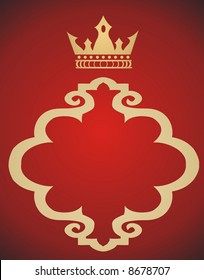 Gold Crown ond red background - vector