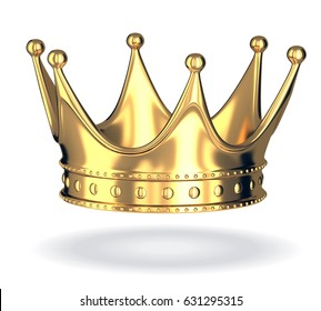 Gold crown only on white isolated background. 3d illustration
