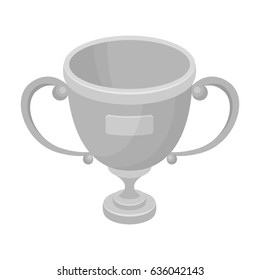 Gold cup of the winner.Fans single icon in monochrome style bitmap, raster symbol stock illustration.