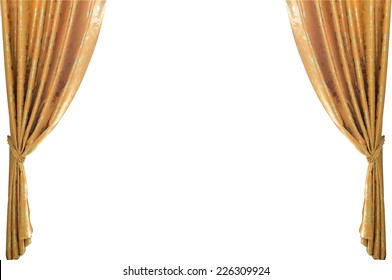 gold curtains on a white background