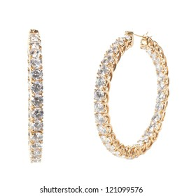 Gold CZ Hoop Earrings