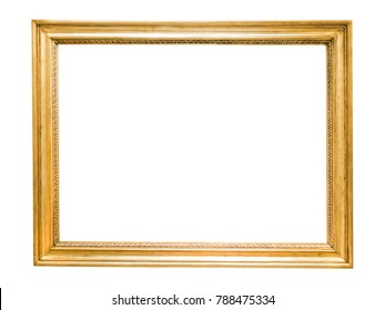 Gold decorative picture frame isolated on white background with clipping path