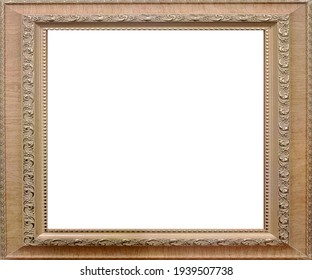 Gold decorative picture frame on white background
