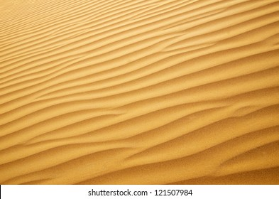 Gold desert into the sunset. Sand texture.