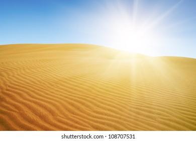 Gold desert under blue sky.