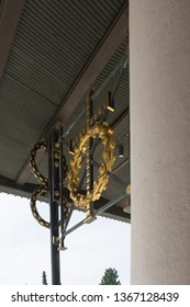 Gold detail of Otto Wagners church entrance in Vienna City