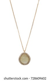 Gold diamond pendant necklace with yellow striped stone on white background
