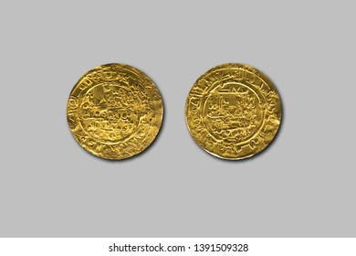 Gold dinars from Cordoba Caliphate period, Hisam II rule, 1011. Isolated