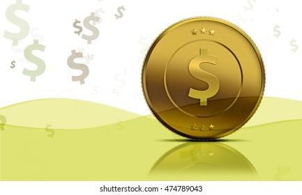 Gold dollar coin rendered illustration