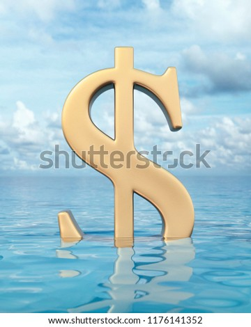Gold dollar symbol partly submerged in the ocean