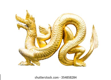 Gold dragon isolated on white