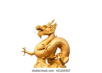 Gold dragon statue isolated on white background, Clipping path