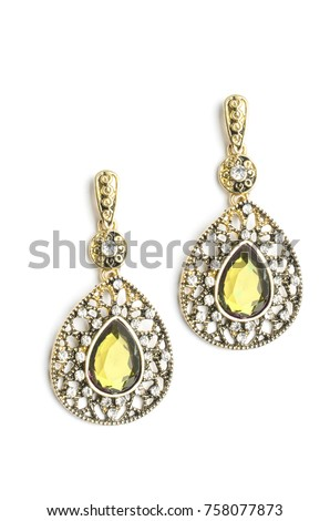 0f182465e42 Gold Drop Earrings Yellow Stone Isolated Stock Photo (Edit Now ...