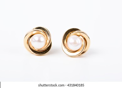 Gold Earrings With Pearl On White