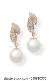 gold earrings with pearls isolated on white