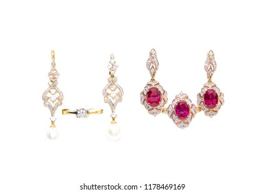 gold earrings and rings with diamonds and rubies