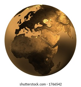 Gold earth in white background